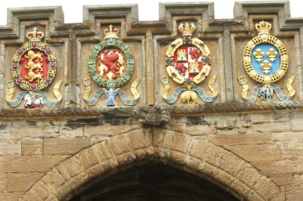 Crests showing the Orders of James V:  The Garter, the Thistle, the Golden Fleece of Burgundy and the the Order of St Michael