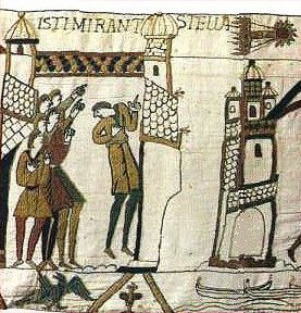 Bayeaux Tapestry, depicting the 1066 Halley's Comet