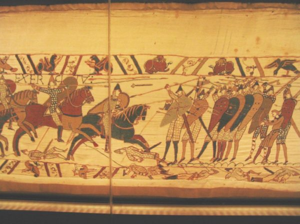 Bayeux Tapestry;  photo by Gabriel Seah via Wikimedia Commons