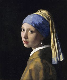 'Girl with a Pearl Earring' by Johannes Vermeer;  her turban is painted using ultramarine (lapis).  photo via Wikimedia Commons