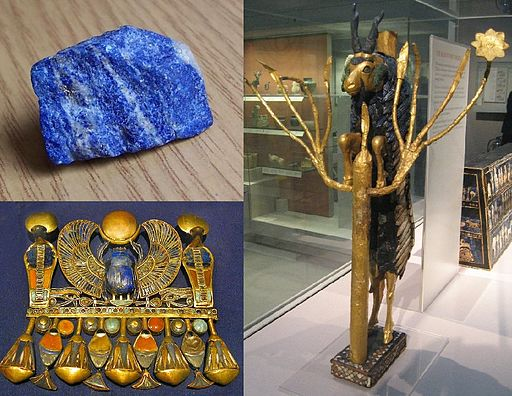 Ancient carvings and jewellery using lapis