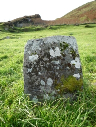 Garvellachs: Lichen on gravestone (see the worn cross?)