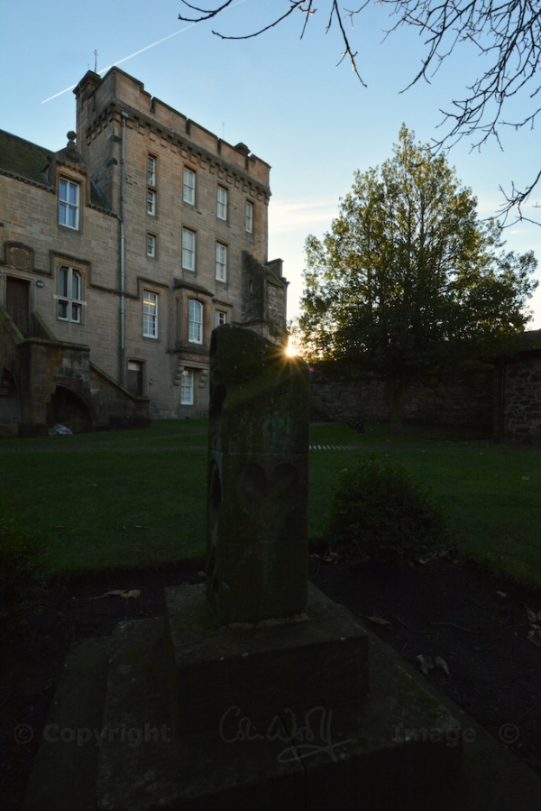 Sundial in the Douglas Garden, with the King's Old Building behind - scene of the murder of the Earl of Douglas