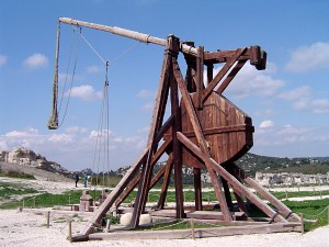 Trebuchet - a small-scale reconstruction, courtesy ChrisO via Wikimedia