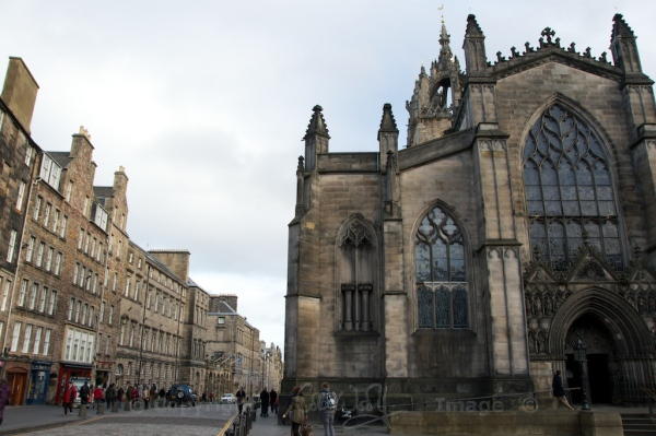 Looking down the Royal Mile from the west entrance