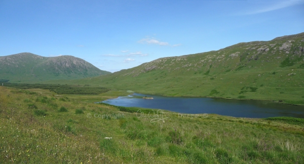Loch Sguabain on Mull, with a crannog (centre)