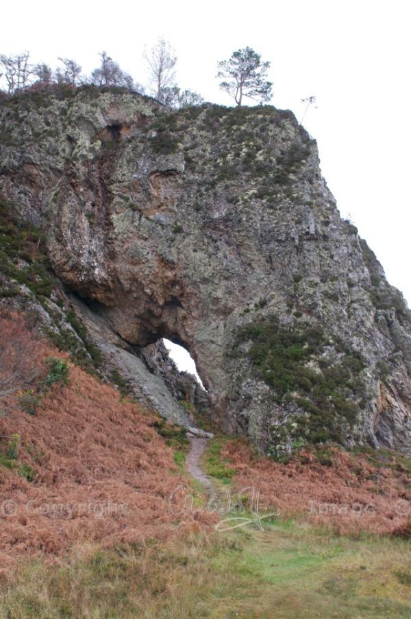 Clach Tholl, coastal arch at Port Appin