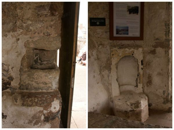 Stone sink (left) and fireplace