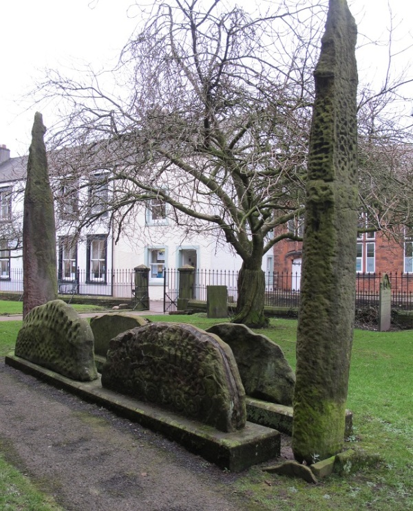 Hogback stones and two upright crosses at 'The Giant's Grave', Penrith. Photo by B Keeling