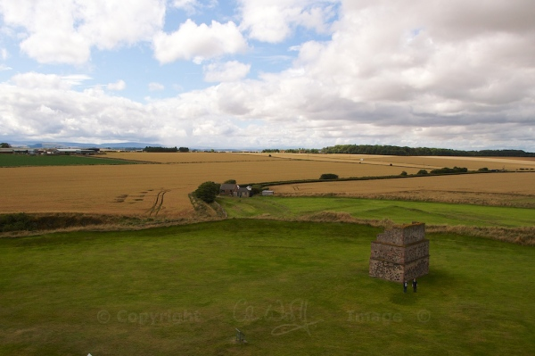 Looking over the 14th century ditches, with the dovecot in the foreground