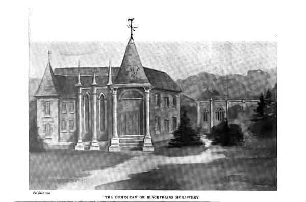 'Sketch of the medieval monastery of the Blackfriars, now lost' from The Ancient Capital of Scotland, Vol. 1, London, published 1904
