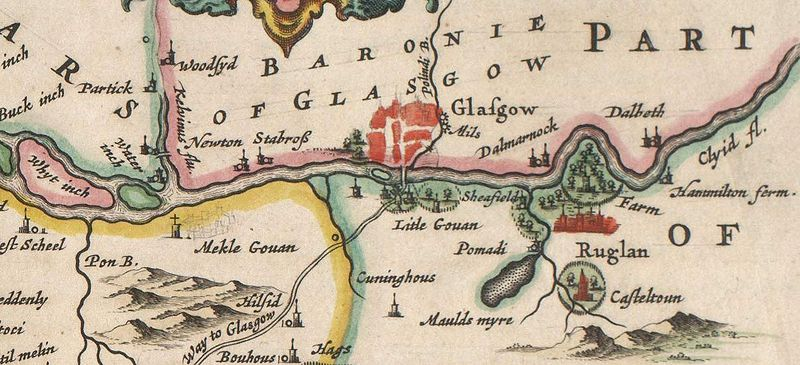 The River Clyde showing 'Meikle' ('Greater') and 'Little' Govan with a suggestion of Doomster Hill, from Blaeu's 1654 Atlas