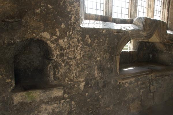 Piscina (left) and effigy recess, now empty