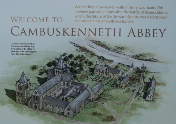 Historic Scotland information board suggesting the original layout of the abbey